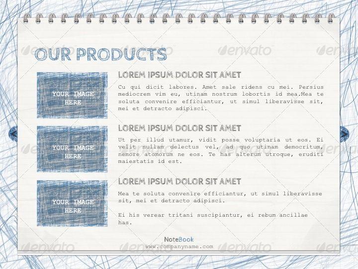 notebook powerpoint template design pinterest template