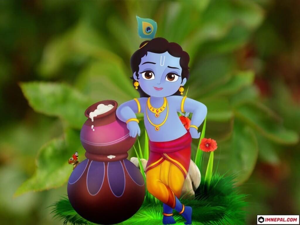 Cartoon Little Krishna Wallpaper