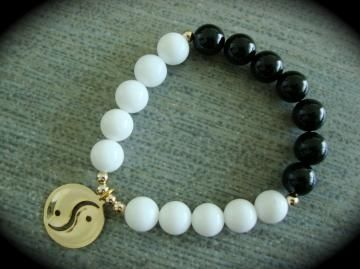 YogiBead Ying Yang White Jade & Onyx With 10K Vermeil Accents by YogiBead for $40.99