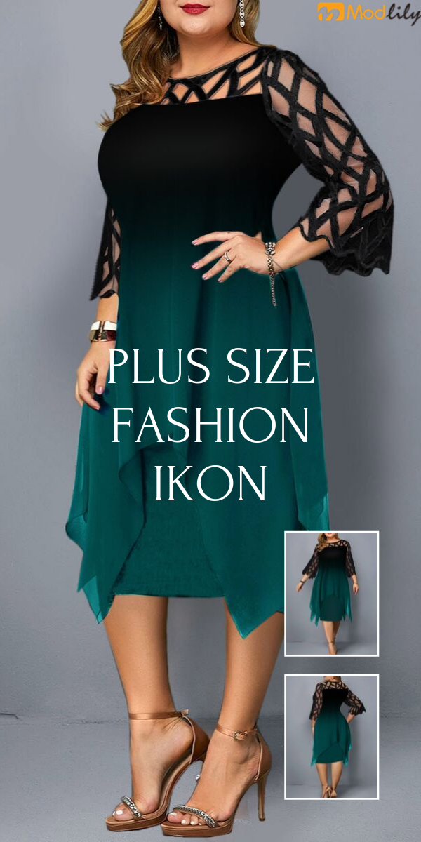 Plus Size Mesh Panel Gradient Dress #kleidersale