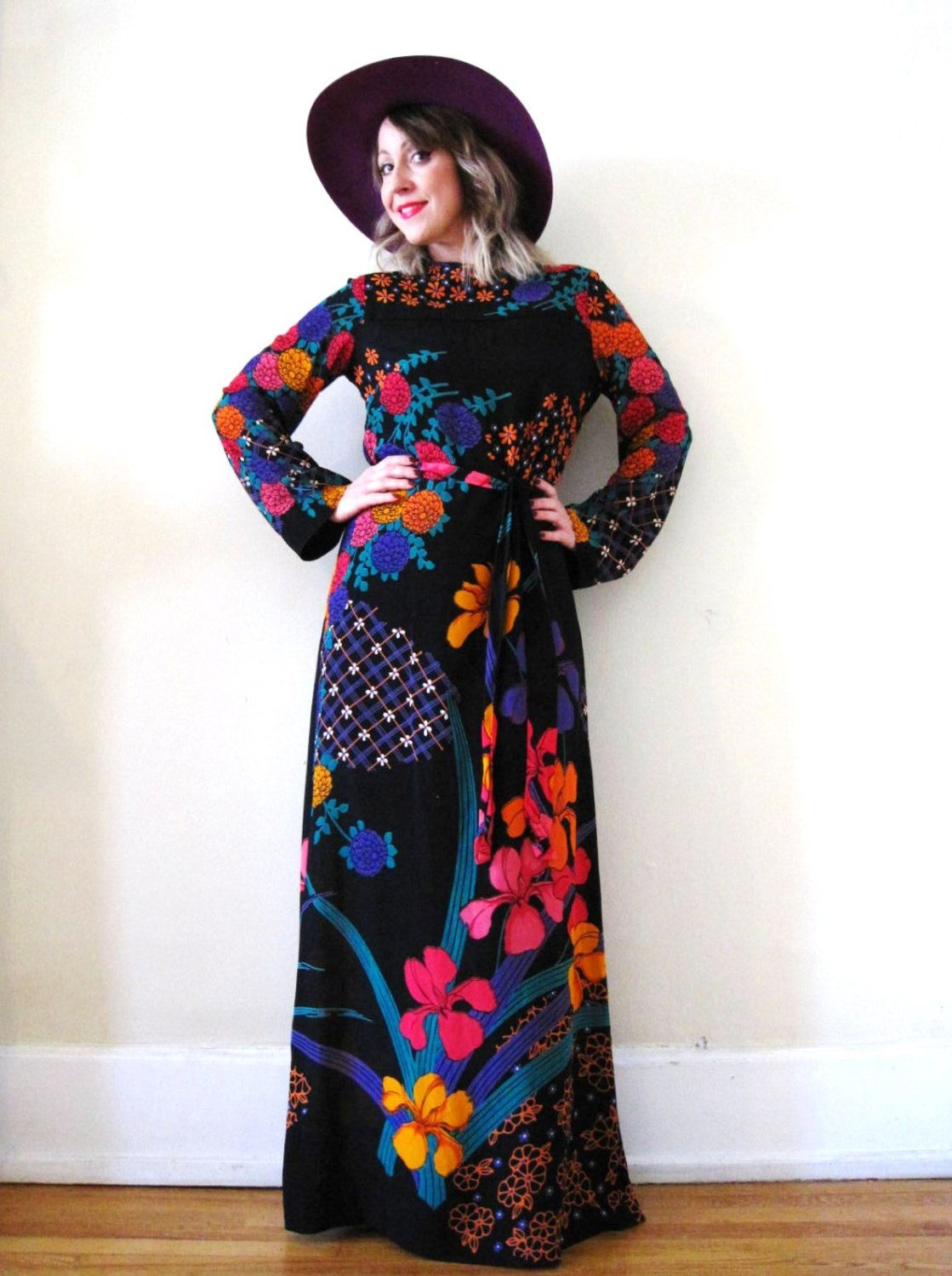 vintage 60s 70s bright floral black maxi dress Malcolm Starr Ritzkallah hippie boho psychedelic by detroitdolly on Etsy