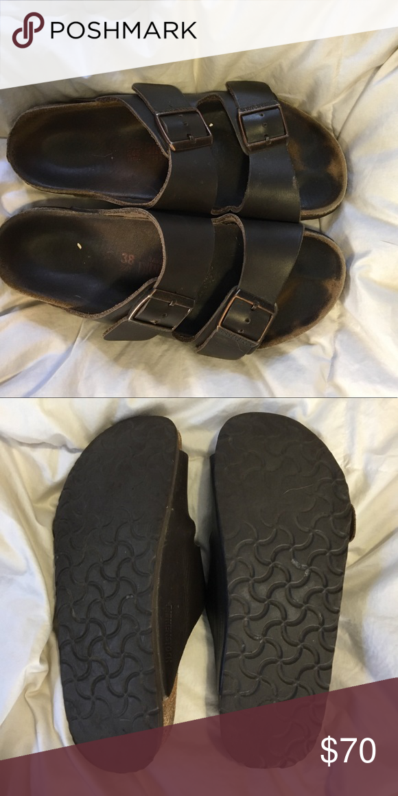 Brown leather birkenstocks!! These are the most comfortable shoes ever!! I love them they're not that worn! Birkenstock Shoes Sandals