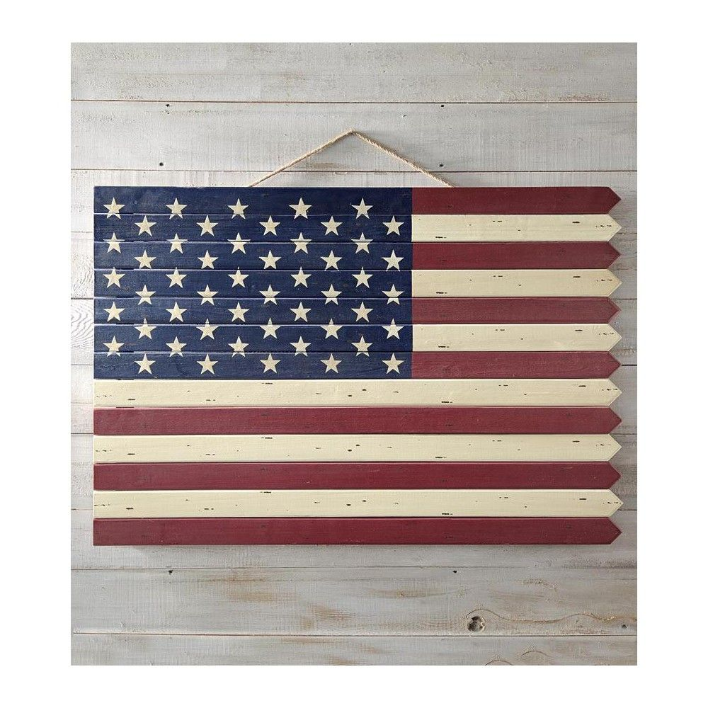 Wooden Americana Flag Plow Hearth In 2020 Flag Wall Decor American Flag Wall Decor American Flag Wood