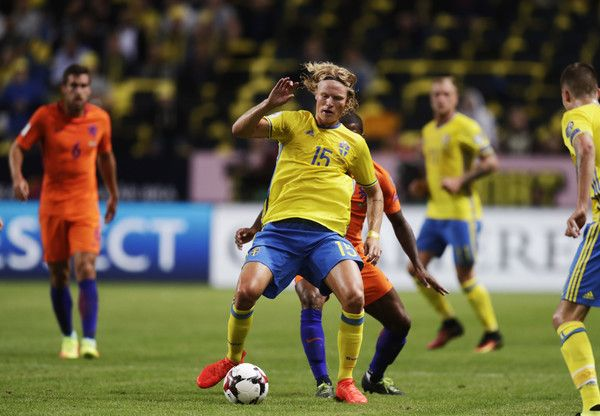 Oscar Hiljemark of Sweden during the FIFA World Cup Qualifier between Sweden and Netherlands at Friends arena on September 6, 2016 in Solna, Sweden.
