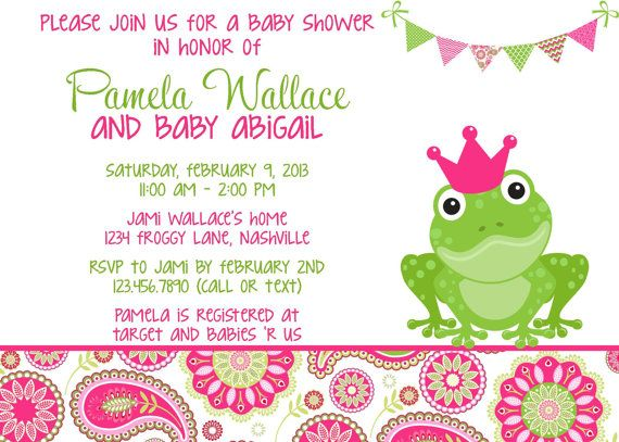frog pink  green paisley baby shower invitation by partysoperfect, Baby shower invitation