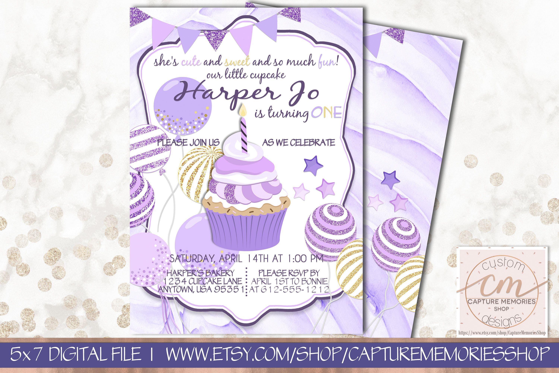 Purple Birthday Invitation 1st Birthday Any Age Purple Gold Cupcakes ...