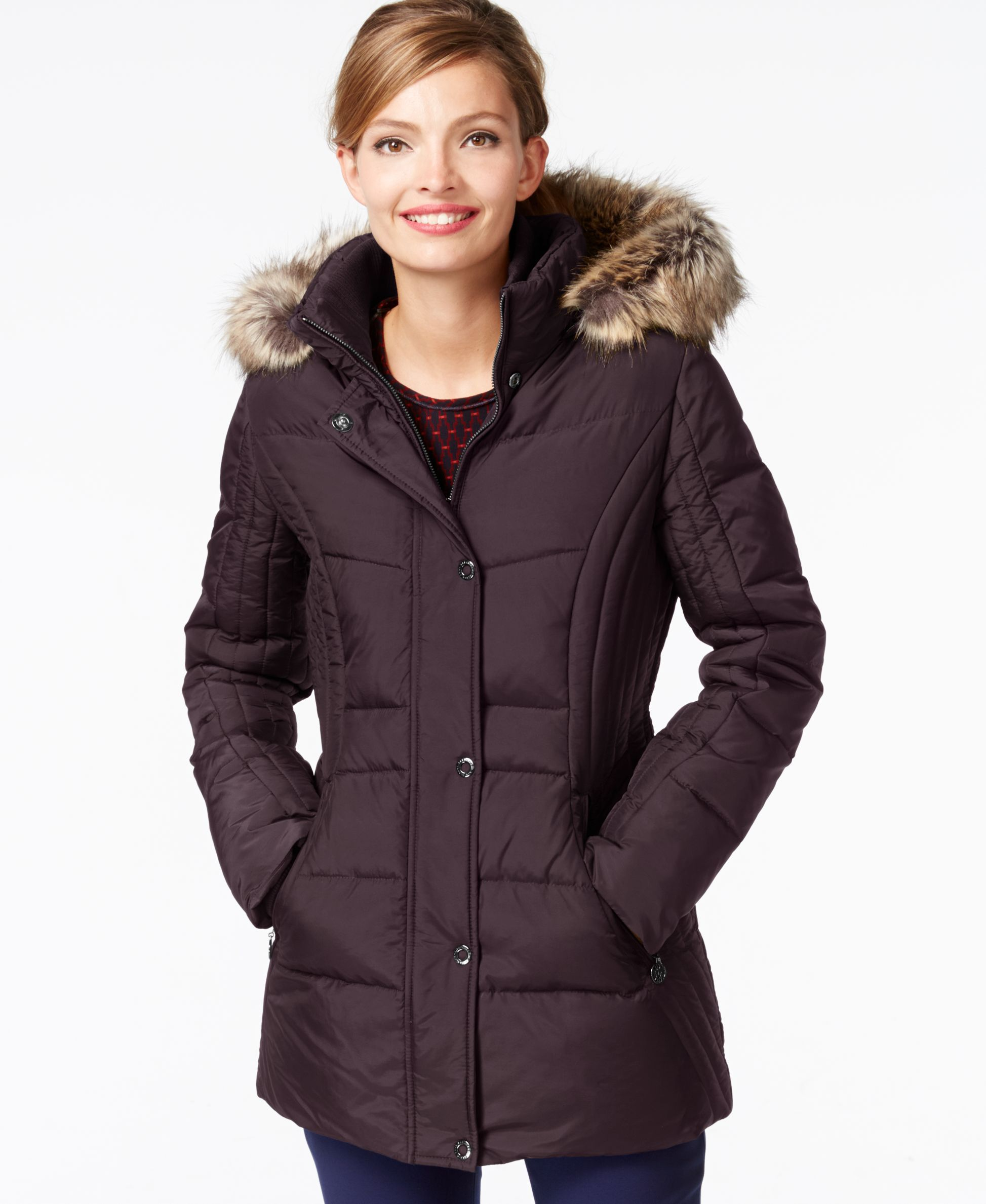 f4ff252c1 Anne Klein Faux-Fur-Trim Contrast-Quilted Down Coat | Products ...