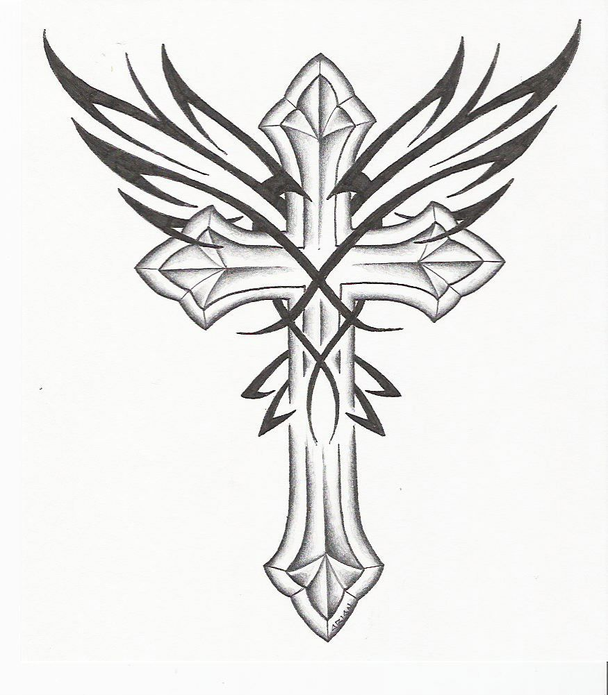 pin gothic cross tattoo drawing and wings picture to