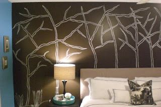 Draw with chalk on the wall and then once you are happy with your design paint over it ~ Our Suburban Cottage