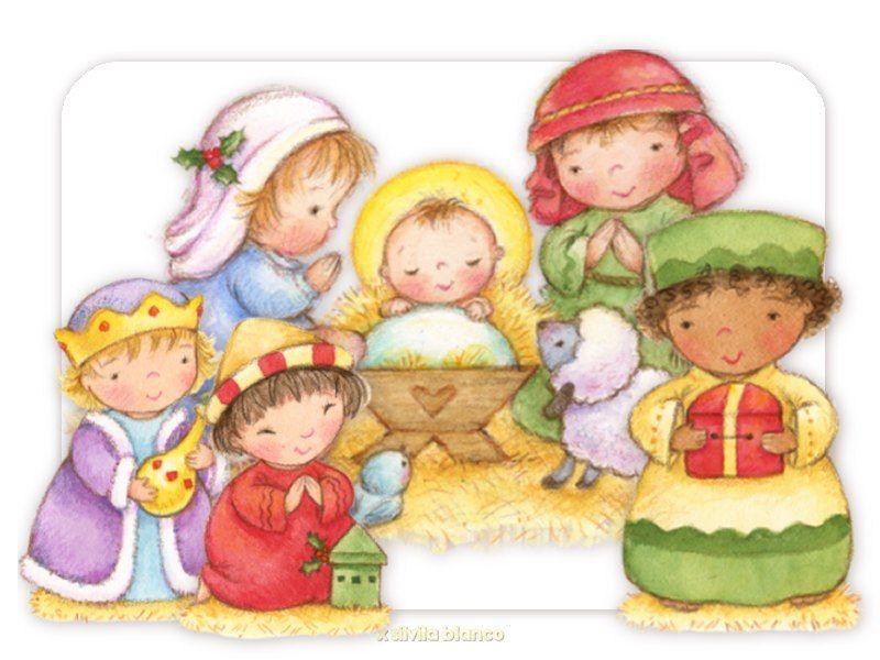 adoración al niño Jesús en el pesebre | Christmas clipart ...