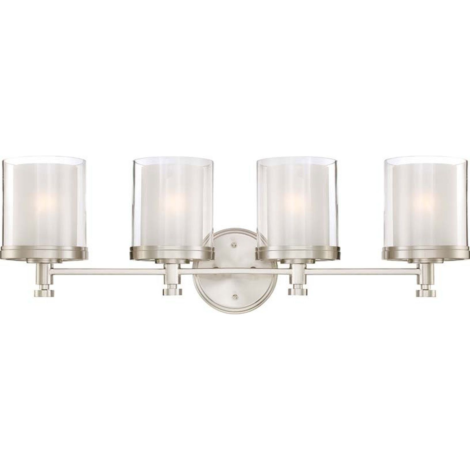 Nuvo Lighting Decker Four Light Bathroom Fixture With Clear And Frosted  Brushed Nickel Indoor Lighting Bathroom Fixtures Vanity Light