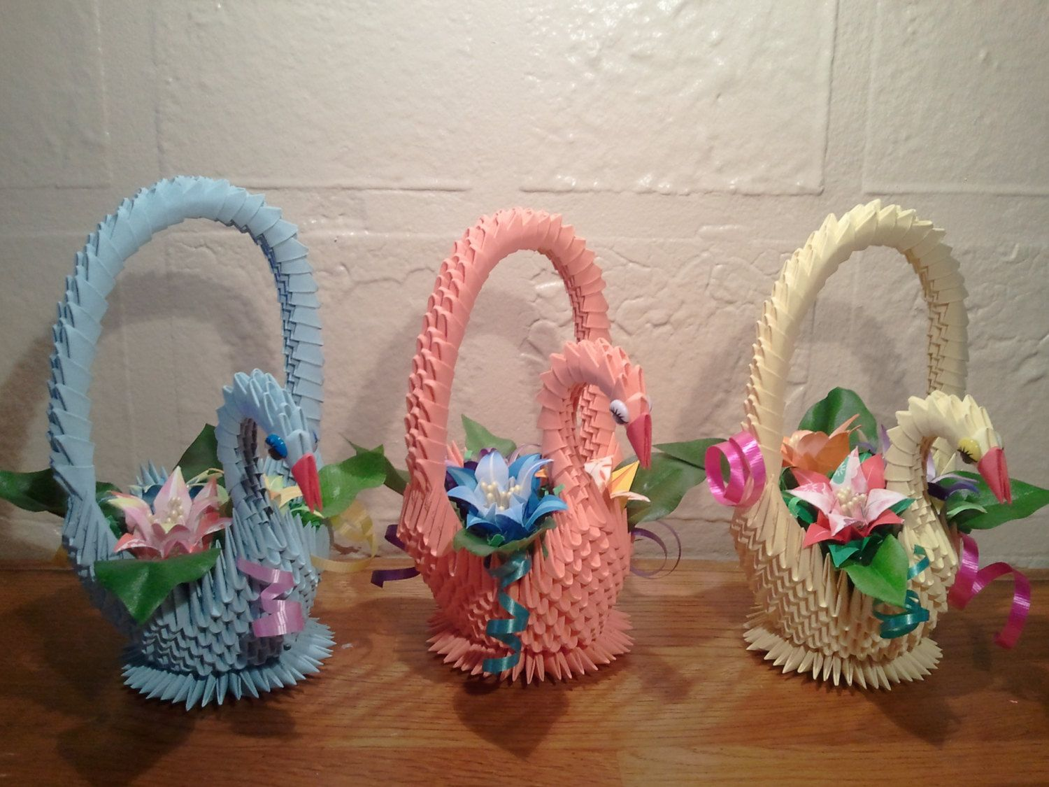 3D origami Swan Basket with Flowers by akvees on Etsy ... - photo#31