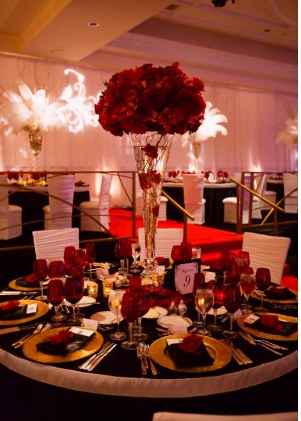 Red Ivory Black And Gold Wedding Decor Pinterest Ivory Gold