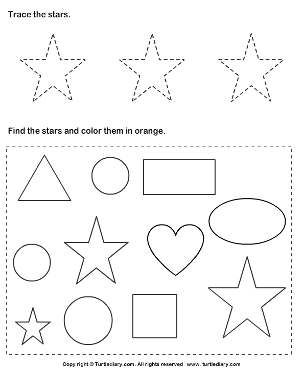 Download And Print Turtle Diary 39 S Trace Stars And Color Them Worksheet Our Shapes Worksheet Kindergarten Shapes Worksheets Shape Worksheets For Preschool