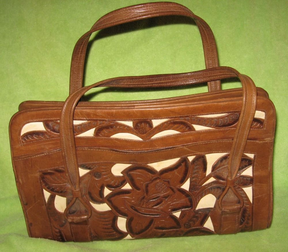 Huge Vtg 60s Avelar Mexico Tooled Leather Boho Handbag Doctor Purse Bag
