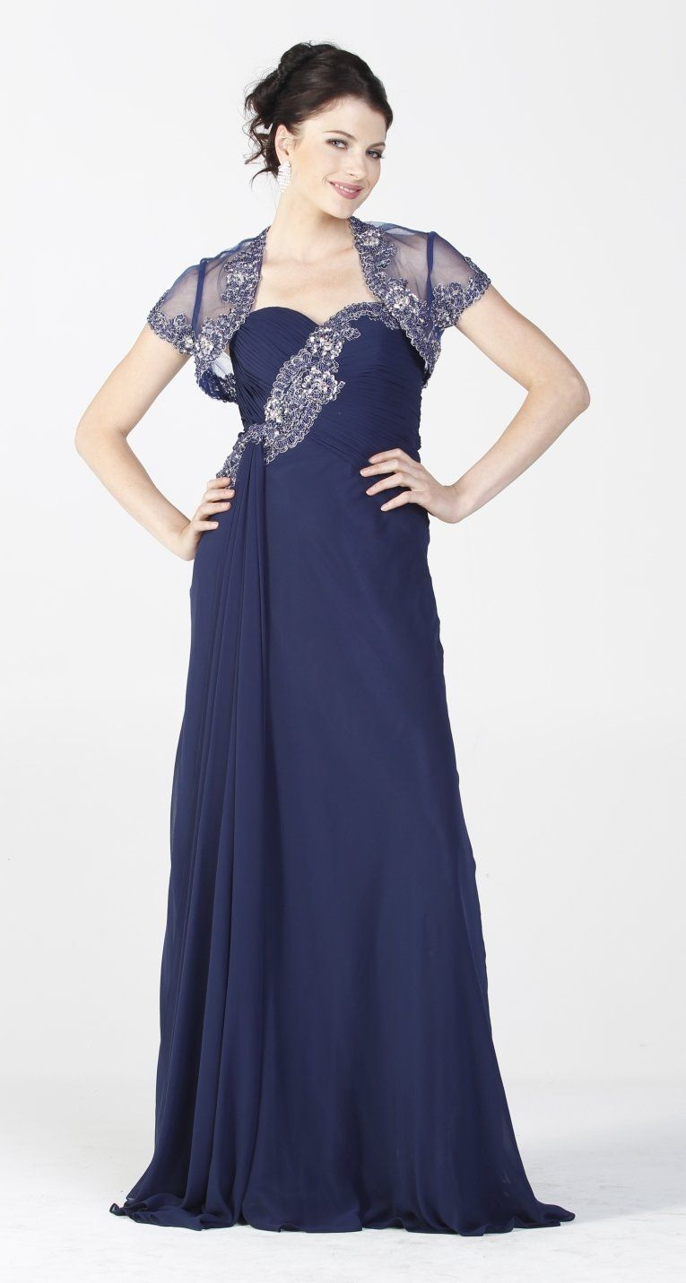 On Special Limited Stock Embellished Top Chiffon Long Navy Blue