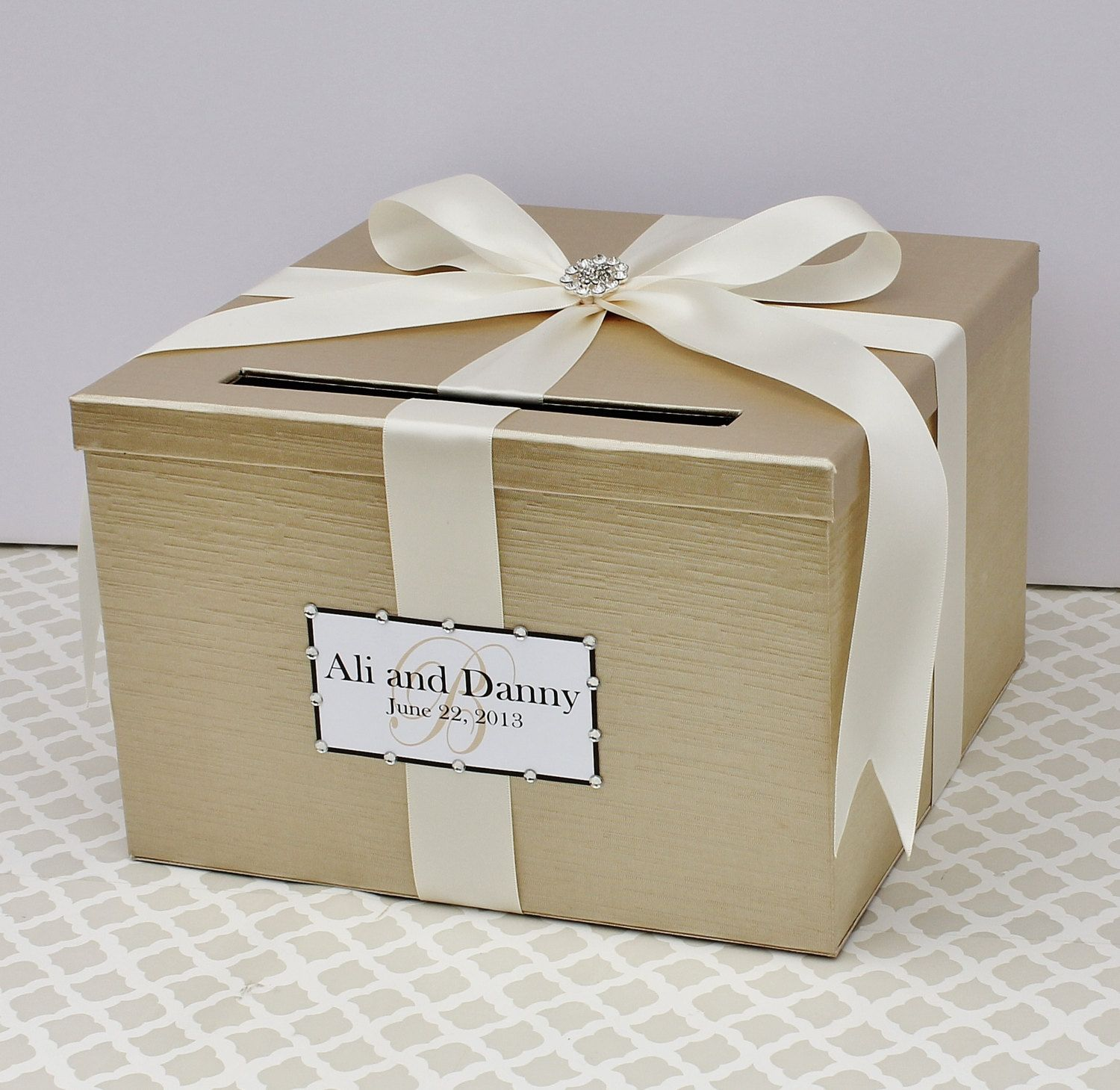 Card Boxes Wedding Gift Idea: Wedding Card Box Champagne Cream Flower Card Holder Custom