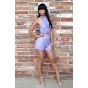 Cheap Sexy Crossed Halter Neck Backless Solid Purp