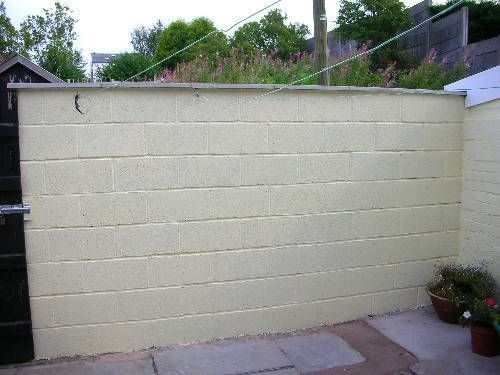 White Painted Breeze Block Wall Google Search Garden Wall Breeze Block Wall Painting Concrete Walls