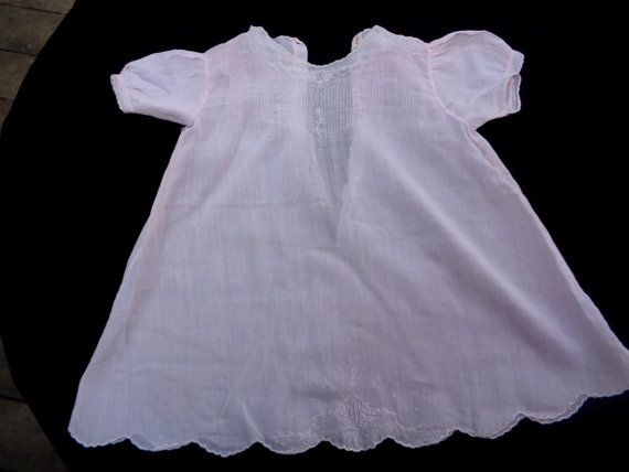 1920's Antique Pink Batiste Cotton Girl Doll Dress Night Gown Toddler Baby Children Clothing Lace Trim Edwardian Dress 116 #3