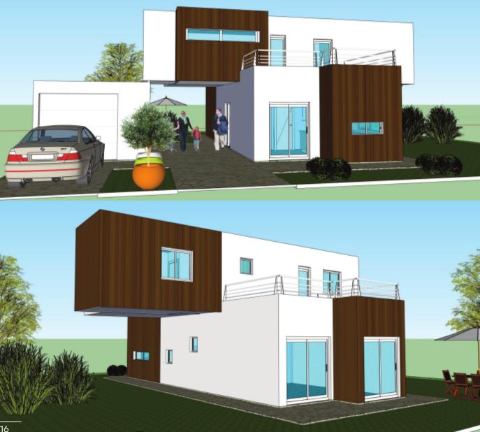 Casa contenedor de 125 m2 garage de 25 m2 con 4x40 39 1x20 39 casa sur pinterest - Casas modulares contenedores ...