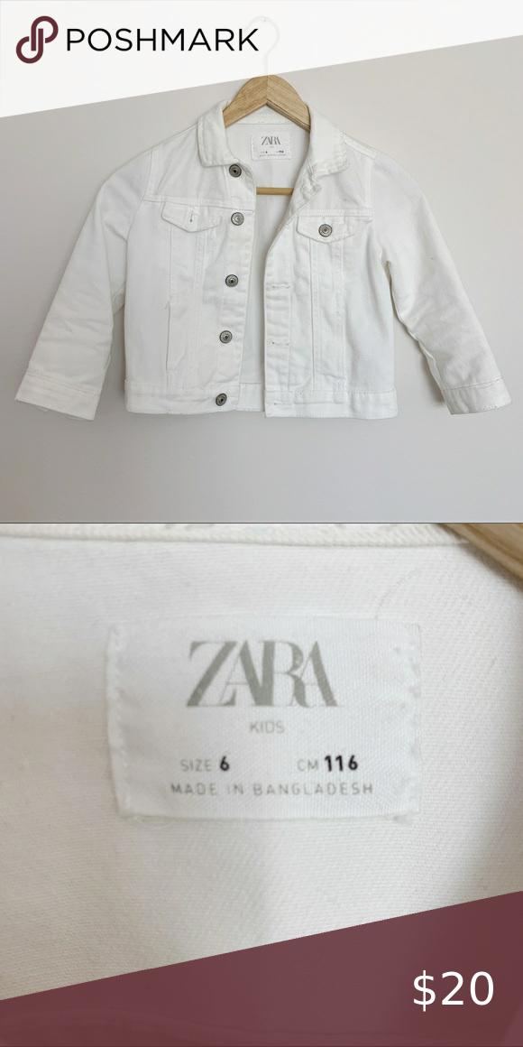 Zara Little Girl White Denim Jean Jacket In 2020 White Denim White Denim Jeans Girls White Denim Jacket