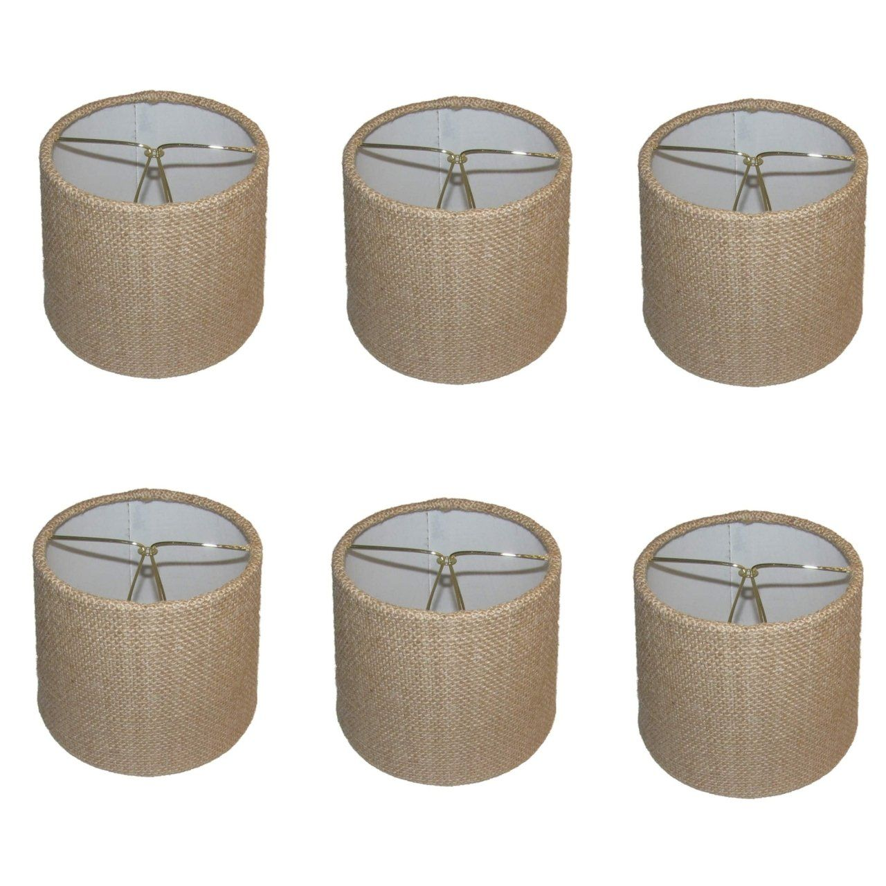 Upgradelights set of six european drum style chandelier lamp shade upgradelights set of six european drum style chandelier lamp shade mini shade natural burlap fabric aloadofball Image collections