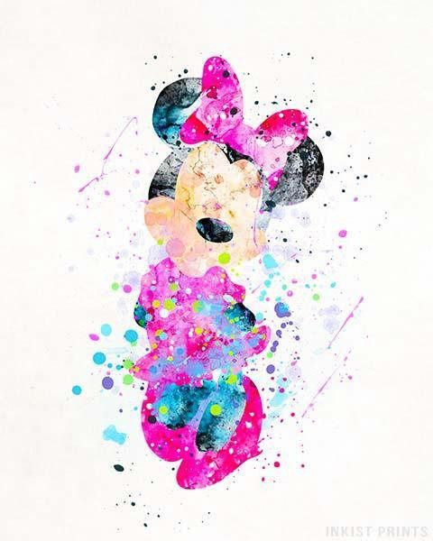 Minnie Mouse, Mickey Mouse Disney Watercolor Wall Art Poster - Prices from $9.95 - Click Photo for Details -