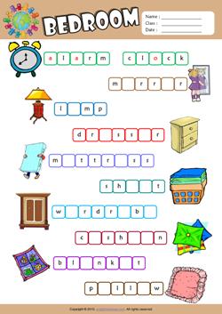 Bedroom Missing Letters In Words Esl Vocabulary Worksheet Engelsk