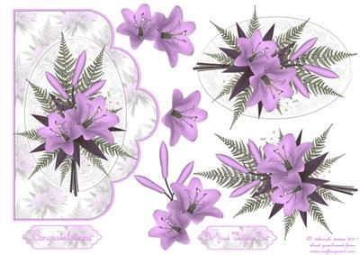 Lilac Floral Scallop Edge Card on Craftsuprint designed by Deborah Davies - Stunning florals on a scallop edge card with decoupage and text plates. Please click on my name for more designs added daily. - Now available for download!
