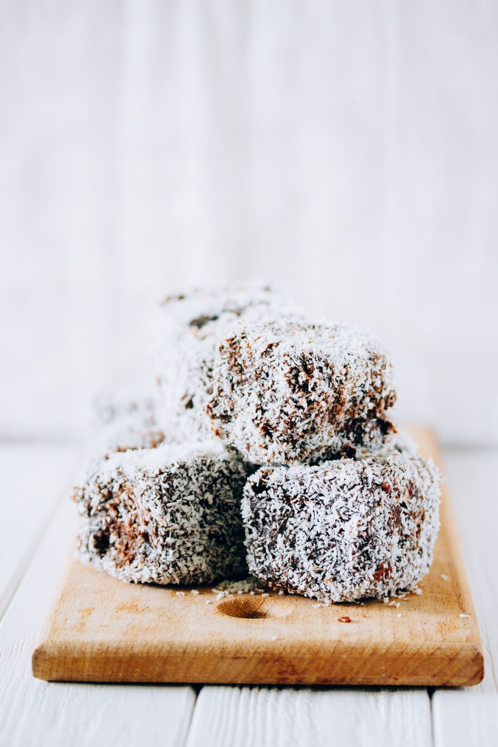 ... mocha lamingtons with berry preserves ...