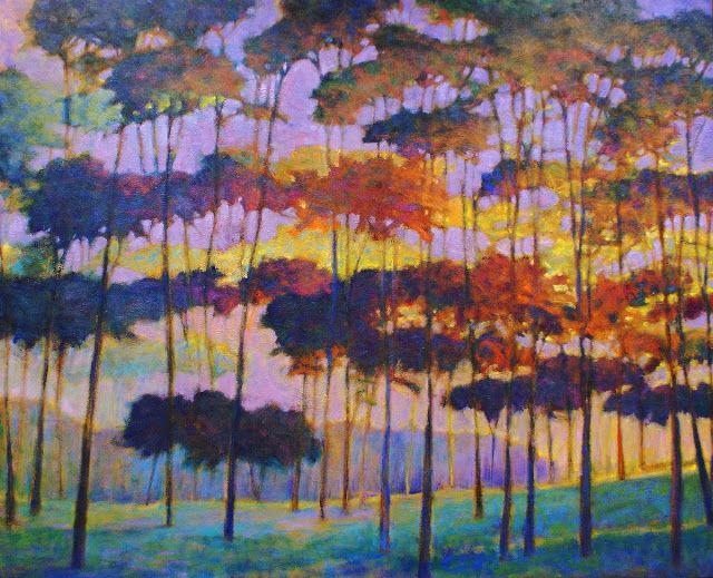 As the Trees Glow Oil on canvas, 48 x 60 inches. $9500 unframed  This oil was started some years ago and has been through numerous phases, all less than successful until this Fall. I learned a lot during the endless painting sessions here. The surrounding colors outside the studio window provided some of the dramatic solutions, but in the end it came from just being more courageous and paying attention to what the painting needed. www.kenelliott.com