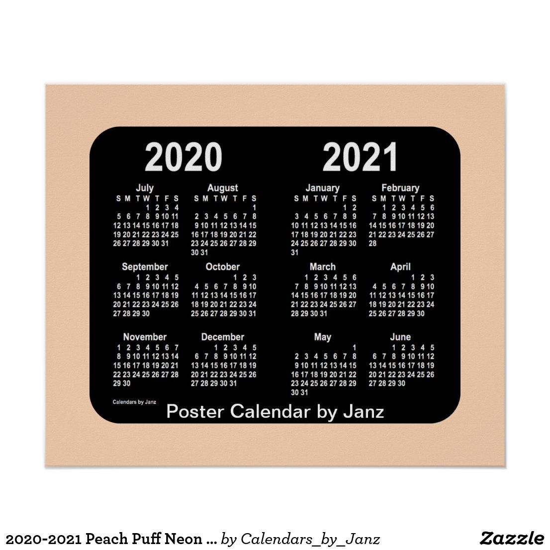 20202021 Peach Puff Neon School Calendar by Janz Poster