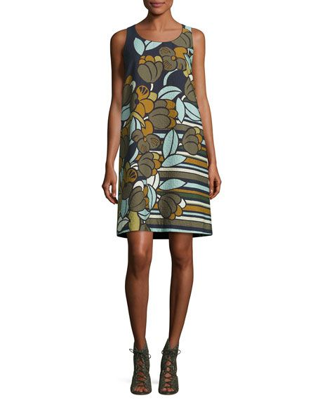 Lafayette 148 New York Sleeveless Floral-Print Cloqué Shift Dress, Multi, $648.00