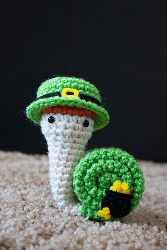 Snailprechaun snail crochet amigurumi by FallenDesigns on Etsy, $25.00