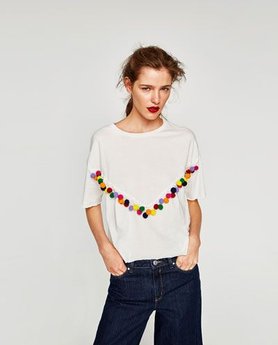690cb55c51 POMPOM TOP-Short Sleeve-T-SHIRTS-WOMAN | ZARA United States | Zara ...