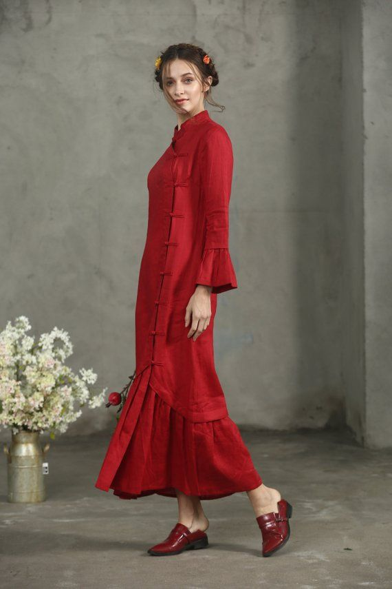 Maxi Red Dress Red Linen Dress Maxi Dress In Red Princess ...