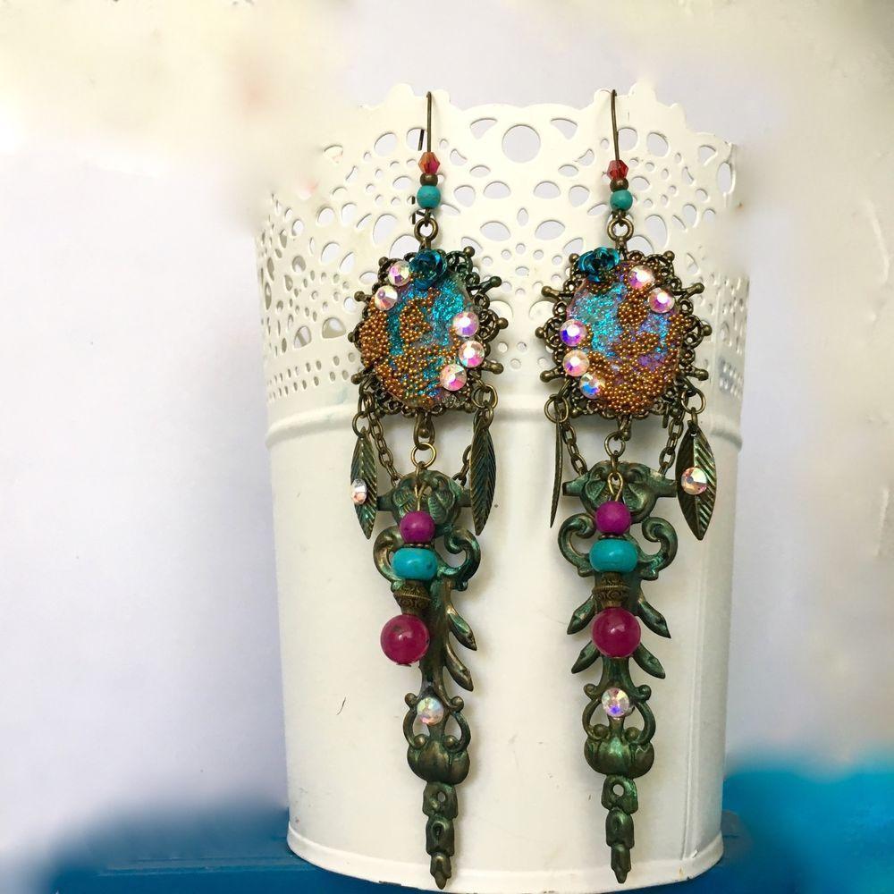 Longues boucles d'oreilles d'inspiration Victoriennes rétros en laiton cristal