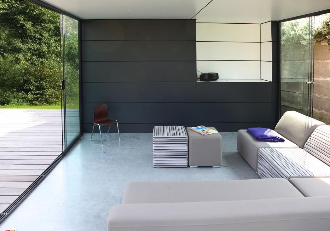 poolhouse en trespa couleur ext rieur en gris anthracite ral 7016 et int rieur blanc. Black Bedroom Furniture Sets. Home Design Ideas