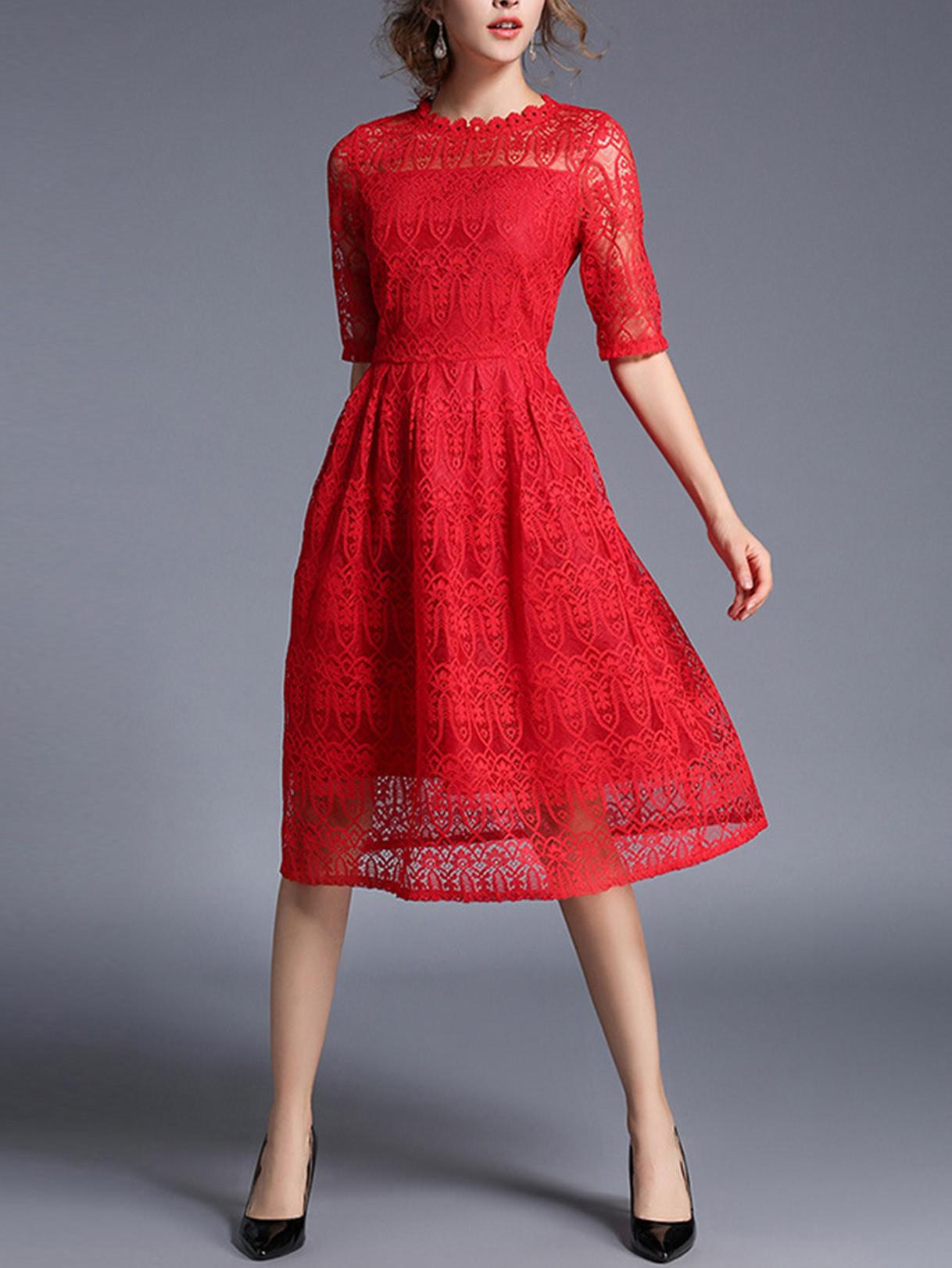 Shop Lace Crochet Eblow Sleeve Dress Online Shein Offers Lace Crochet Eblow Sleeve Dress More To Fit Your Fa Red Lace Dress Women Lace Dress Lace Midi Dress