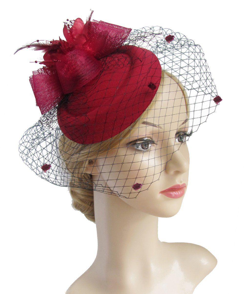 727189202b460 K.CLASSIC Fascinator Hair Clip Pillbox Hat Bowler Feather Flower Veil  Wedding Party Hat Tea Hat (black1) at Amazon Women s Clothing store