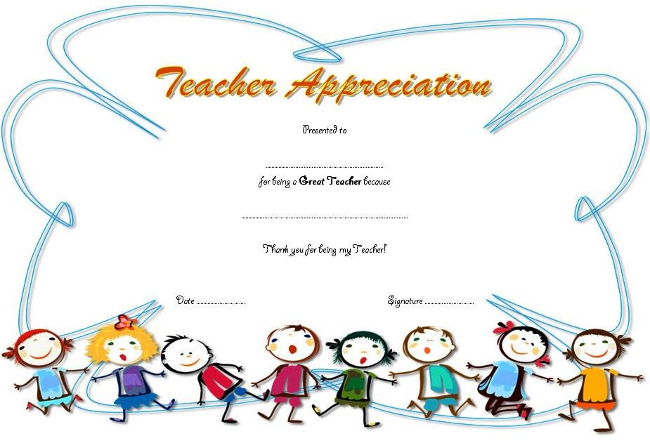 Certificate Of Appreciation For Teacher Free Kindergarten Student Teacher Appreciation Certificate Of Appreciation Certificate Templates