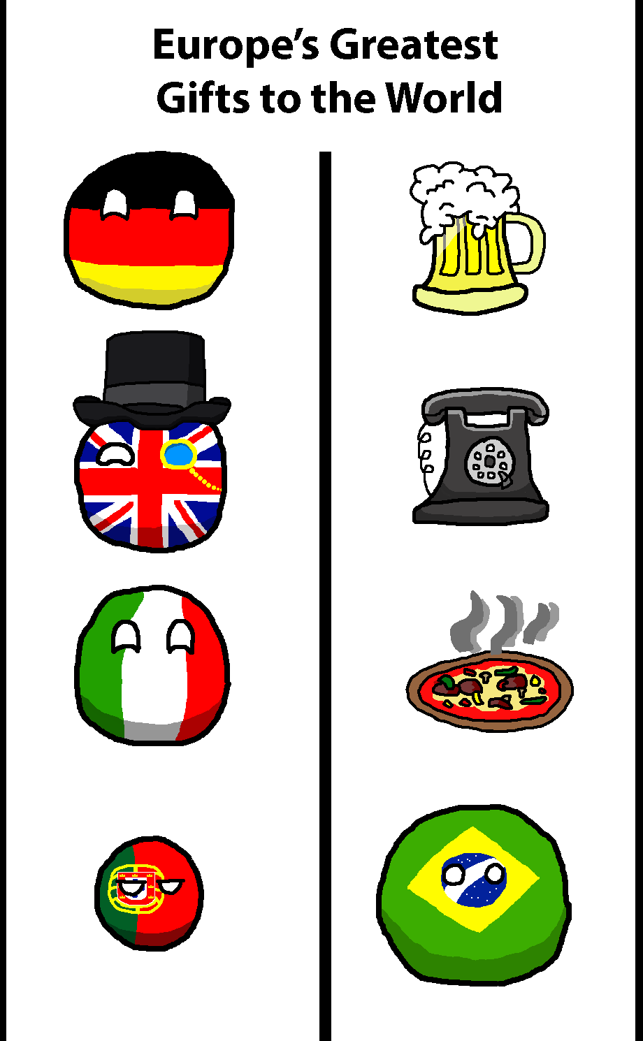 Europe S Gifts To The World Germany Uk Italy Portugal Brazil By Theirishisraeli Polandball Countryball Memes Country Memes Funny Comics