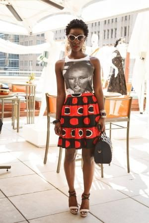 Love this combination! Grace Jones t-shirt and bold African print skirt. Great weekend look. by deidre