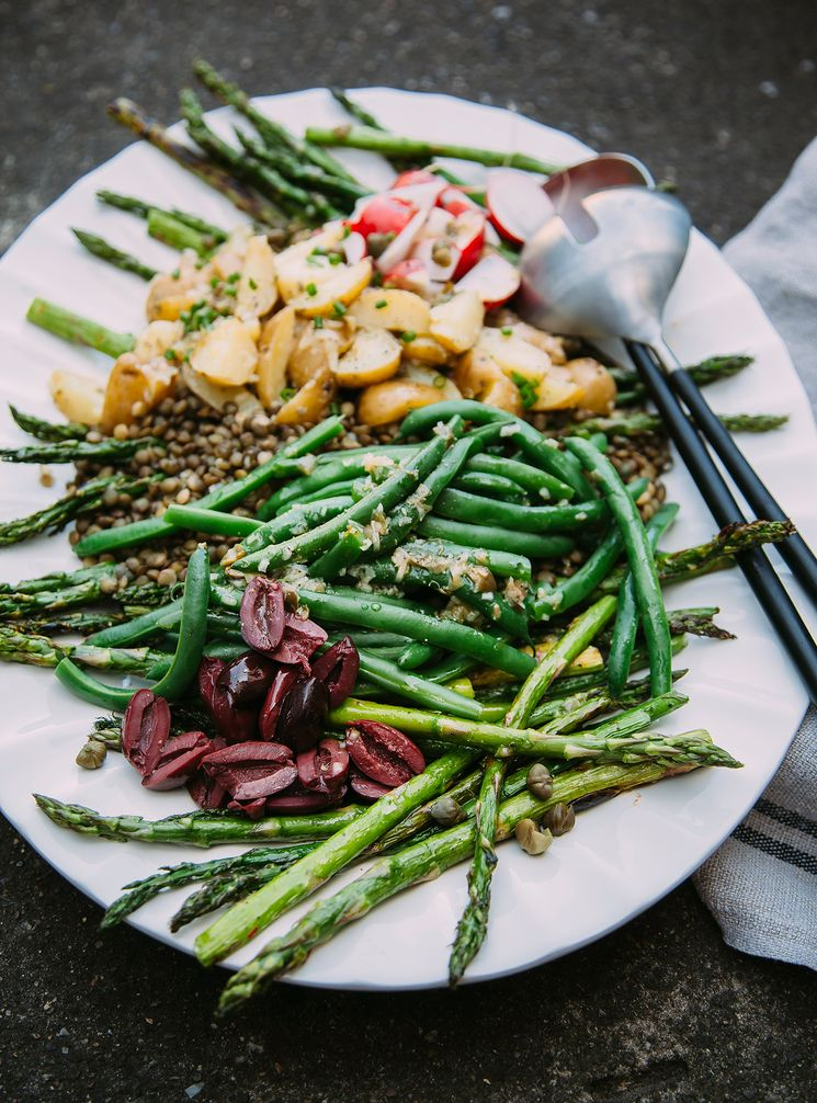grilled asparagus and french lentil niçoise salad (vegan!) - The First Mess