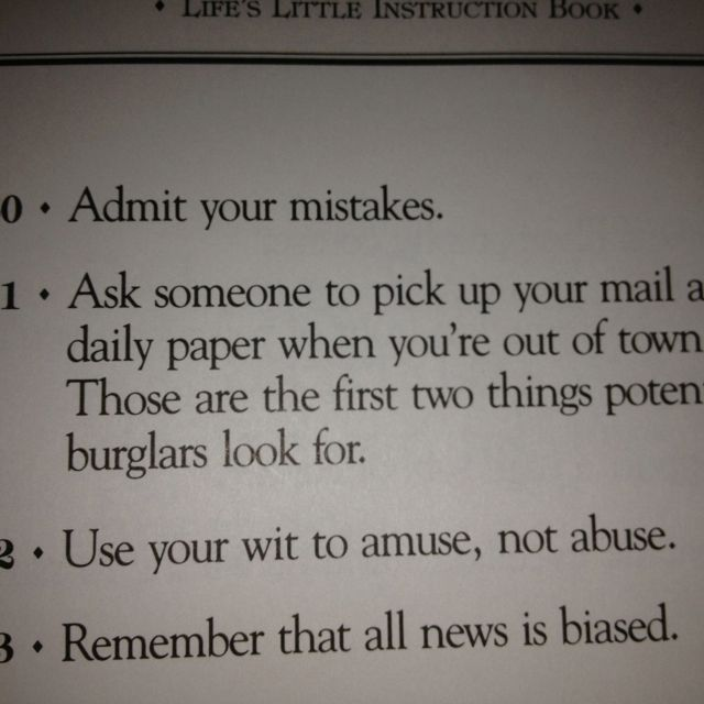 Good tips from Life's Little Instruction Book. | Words to
