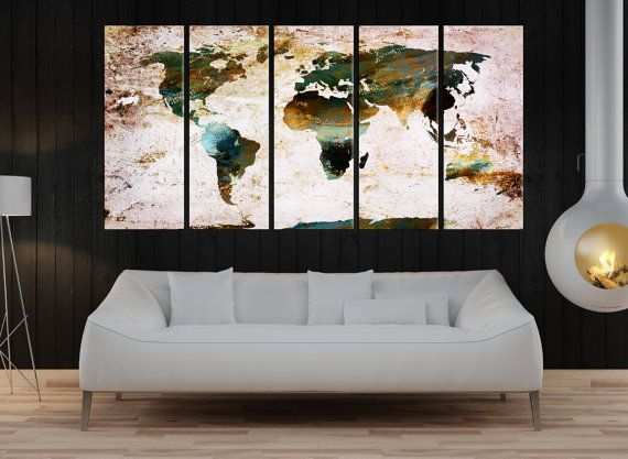 Large Canvas Print Pastel Colors World Map Wall Art