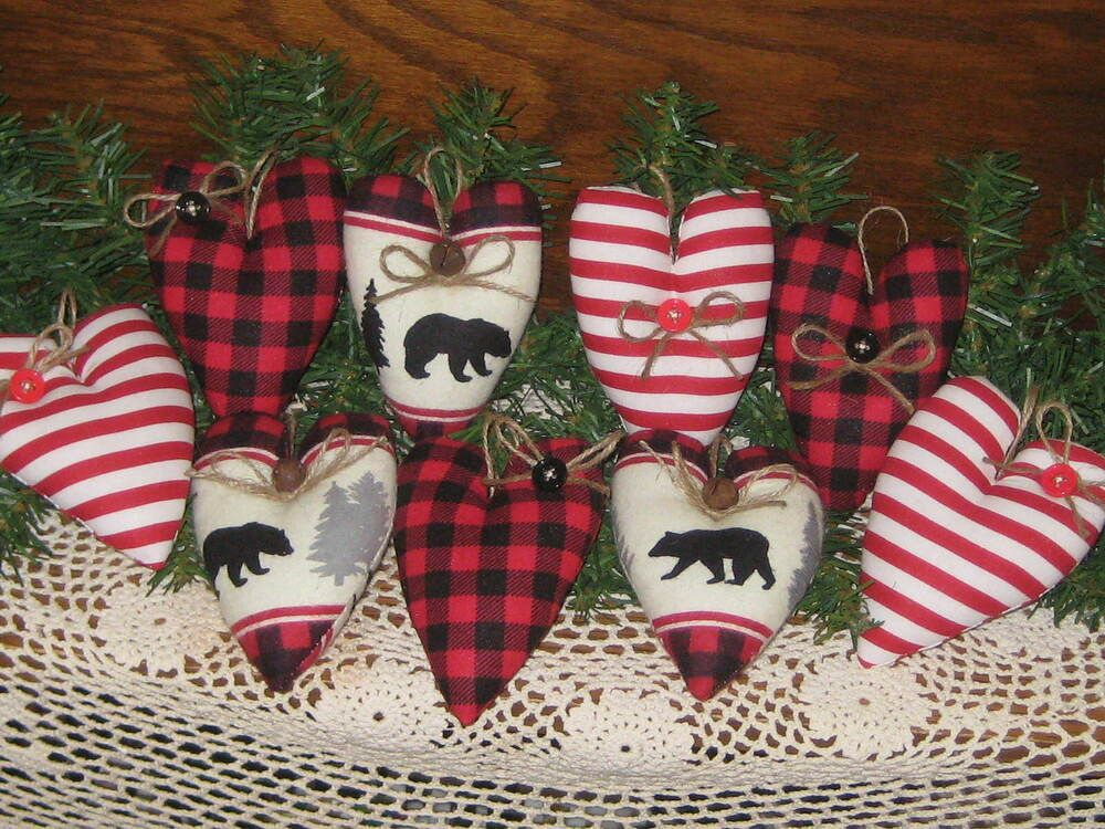 9 Christmas Hearts Black Bears Buffalo Plaid Red Stripe ...