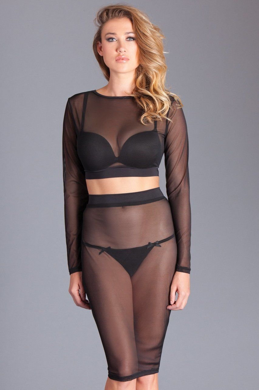 c41e4e1ee180b Sexy Be Wicked Black Sheer Mesh Long Sleeve Cropped Top and Knee Length  Pencil High Waisted Pencil Skirt Lingerie Set