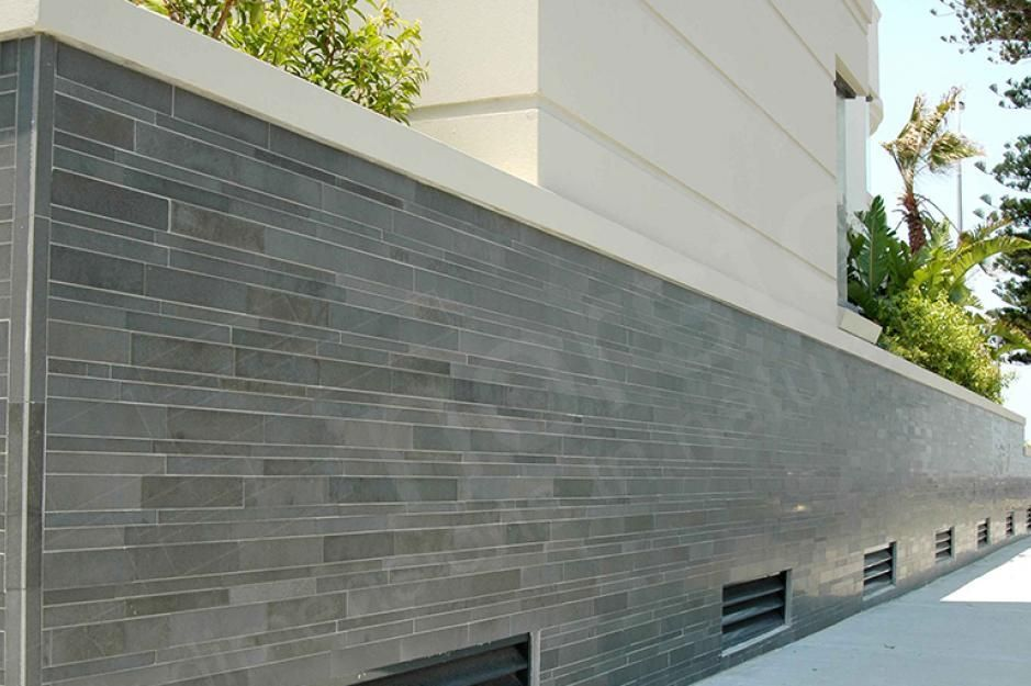 For Our Built In Planters Perhaps Grey Tile Wall Slate Tile Exterior Stone Stone Wall Cladding Exterior Tiles